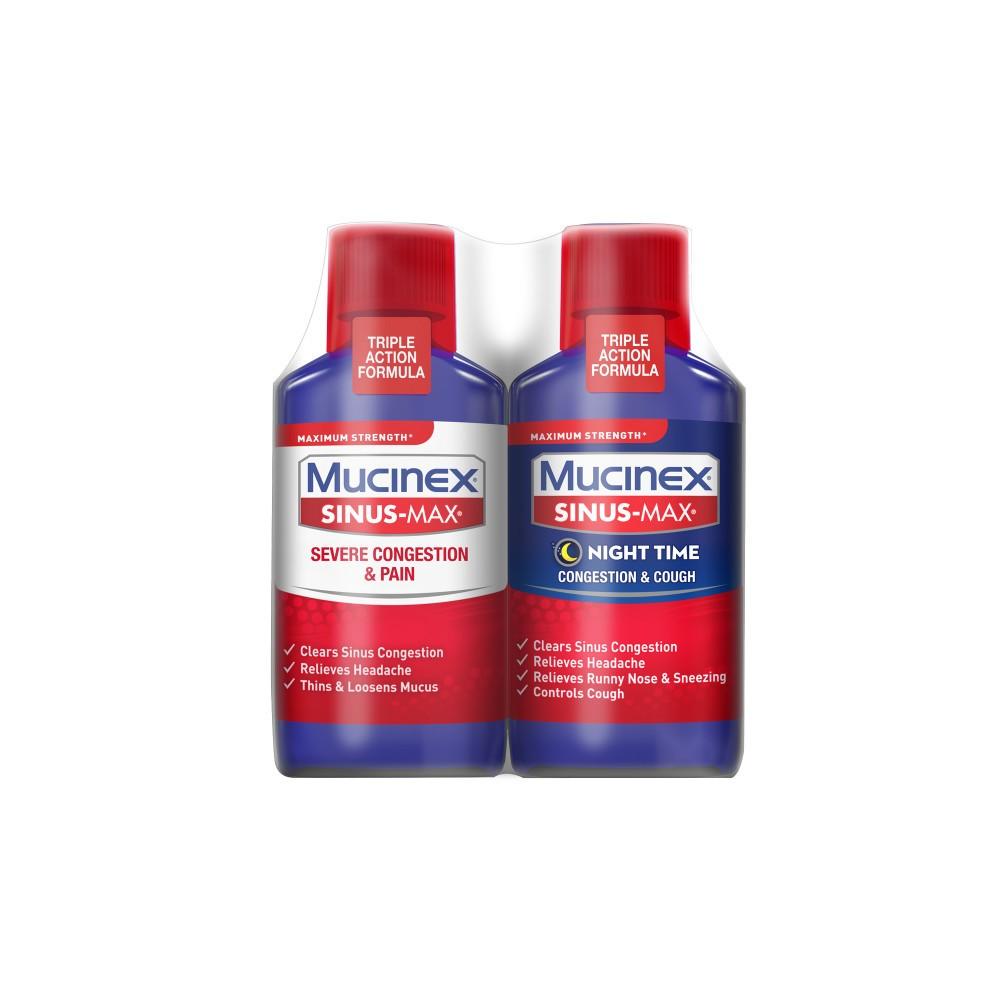 Mucinex Sinus-Max Severe Congestion & Pain and Nighttime Congestion & Cough Relief Liquid - Acetaminophen - 6 fl oz/2pk