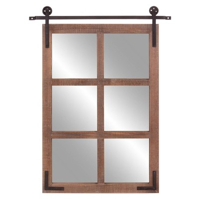 "30"" x 36"" Sliding Barn Door/Window Wall Mirror Wood/Black - Patton Wall Decor"