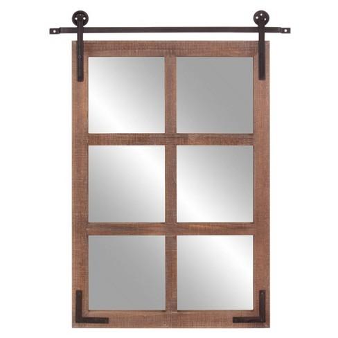 30 X 36 Sliding Barn Door Window Wall, Distressed White Wood Farmhouse Door Wall Mirror