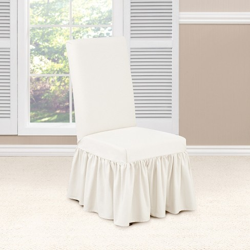 Essential Twill Ruffle Dining Room Chair Slipcover White