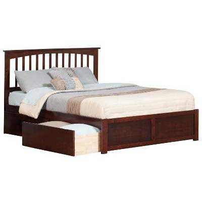 Mission Queen Flat Panel Foot Board w/ 2 Urban Bed Drawers Antique Walnut - Atlantic Furniture