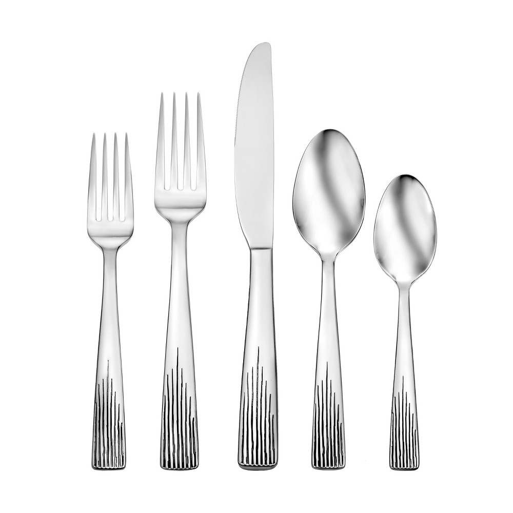 Image of Oneida 20pc Bellow Silverware Set, Medium Silver
