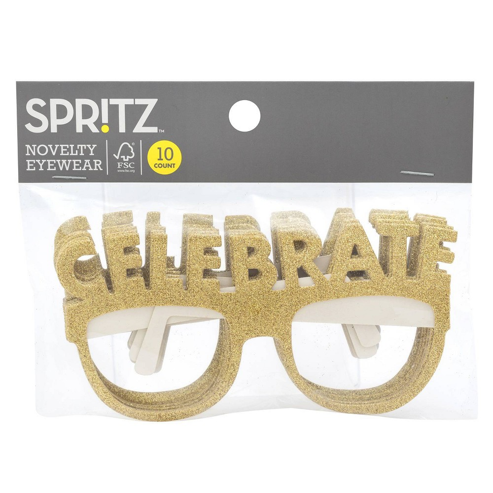 "Image of ""10ct """"Celebrate"""" Party Glasses Gold - Spritz"""