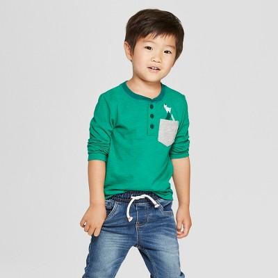 Toddler Boys' Long Sleeve Pocket Henley - Cat & Jack™ Green 12M
