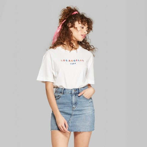 a25bb803d42 Women's Oversized Short Sleeve Crew Neck Embroidered T-Shirt - Wild Fable™  White