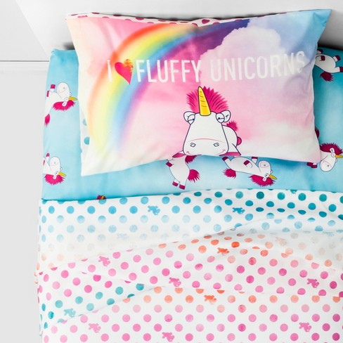 Despicable Me Fluffy Unicorn Twin 3pc Microfiber Sheet Set - image 1 of 4