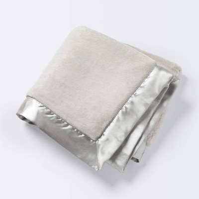 Solid Satin Edge Plush Blanket - Cloud Island™ Gray
