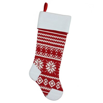 "Northlight 21.5"" Red and White Knitted Snowflake Christmas Stocking with Fleece Cuff"