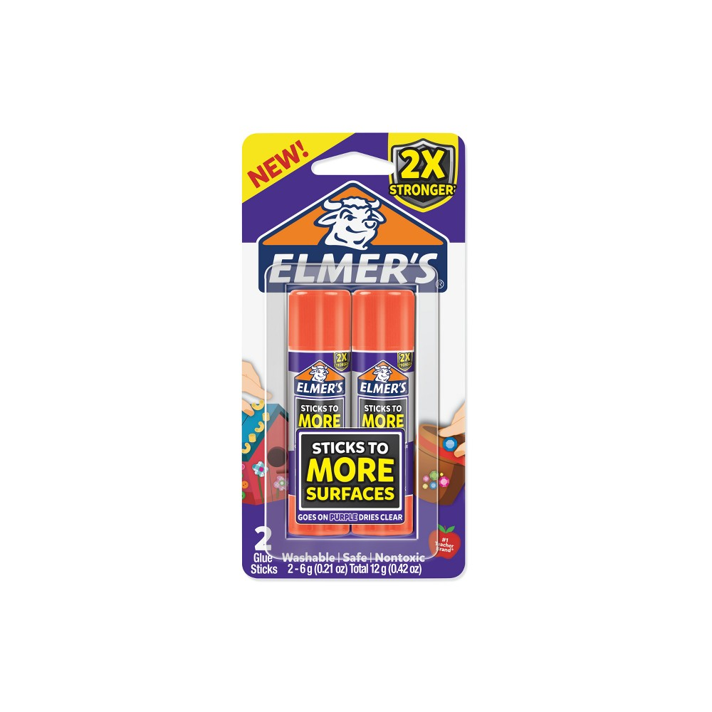 Elmer's 2ct 6g Glue Stick Disappearing Purple
