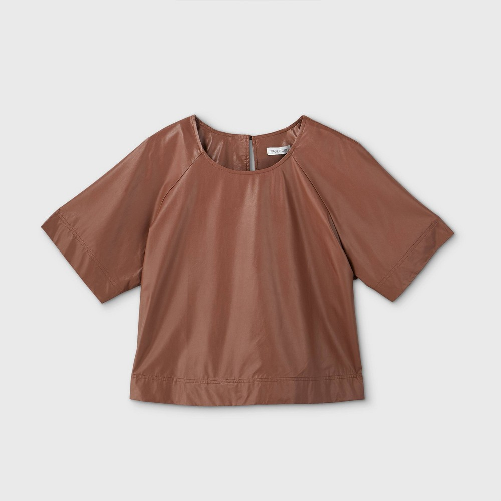 Women's Plus Size Short Sleeve Faux Leather Blouse - Prologue Brown 3X was $29.99 now $20.99 (30.0% off)
