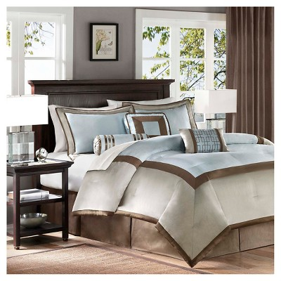 Blue Beverly Polyoni Comforter Set Queen 7pc 7pc