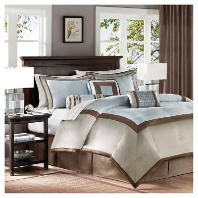 Blue Beverly Polyoni Comforter Set King 7pc 7pc