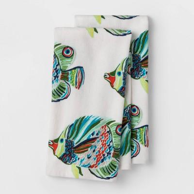 2pk Flat Woven Hand Towels Fish - Opalhouse™