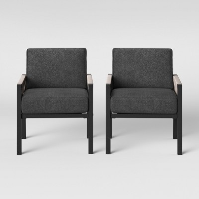 Lunding 2pk Patio Chair Charcoal   Project 62 by Project 62