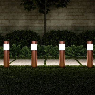 6pk 15  Outdoor Solar Path LED Bollard Stake Lights Copper - Pure Garden