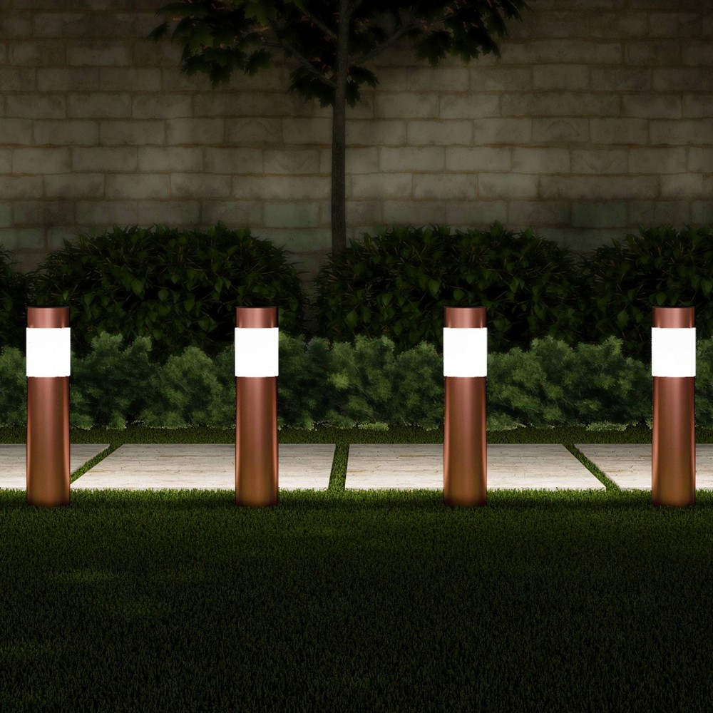 "6pk 15"" Outdoor Solar Path LED Bollard Stake Lights Copper - Pure Garden, Brown"