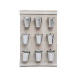 Natural Wood Wall Planter with Nine Metal Pots - Foreside Home & Garden