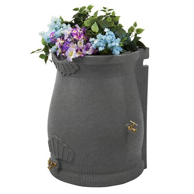 Good Ideas RWURN50-LIG 50 Gallon Rain Saver Wizard Barrel Urn, Light Granite