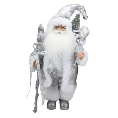 """Northlight 12"""" White and Silver Santa Claus with Staff and Gift Bag Christmas Figure"""