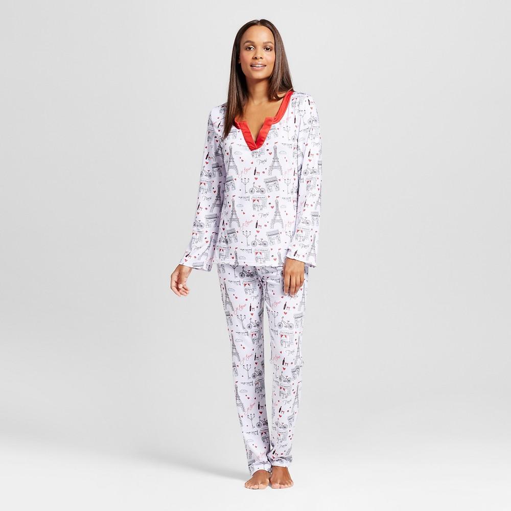 Bhpj by Bedhead Pajamas Women's Mandarin Collar Pajamas Set - Paris Trip - White/Red XL, Multi-Colored