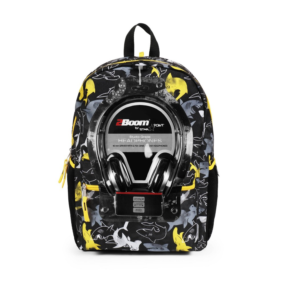 "L2D17"" Shark Backpack with Headphones - Black/Yellow, MultiColored"