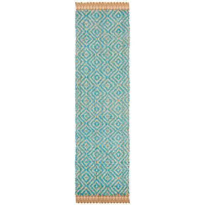 "2'3""x12' Geometric Woven Runner Rug Turquoise/Natural - Safavieh"