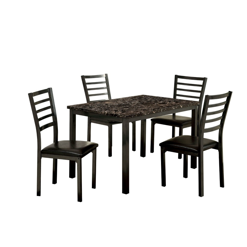48 5pcLarriston Marble Top Dining Table Set Black - ioHOMES
