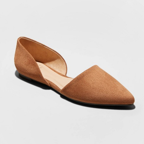 Women's Rebecca Wide Width Microsuede Pointed Ballet Flats - A New Day™ Cognac 7W - image 1 of 3
