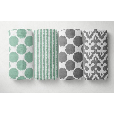 Bacati - Ikat Mint/Gray Dots/Stripes Swaddling Muslin Blankets set of 4