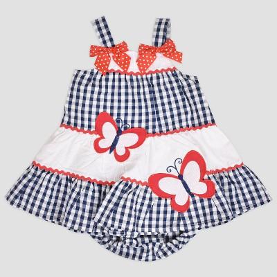 Baby Girls' Multi Tier Butterfly Seersucker Dress Nate & Annee™ Blue 0-3M