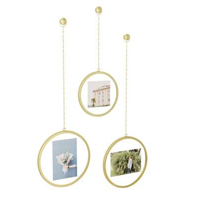 Set of 3 Fotochain Circular Photo Display Matte Brass - Umbra