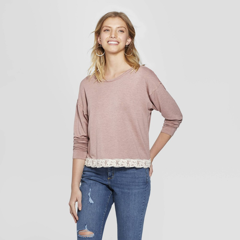 Women's Long Sleeve Lace-Up Back with Lace Trim - Xhilaration Country Rose (Pink) L