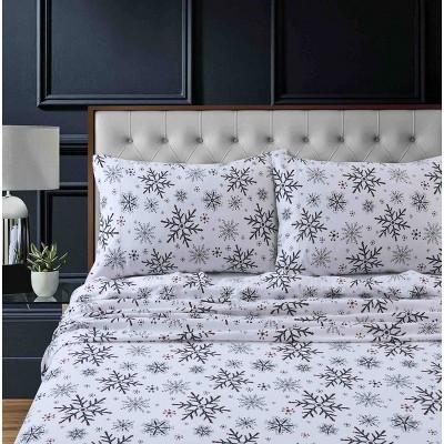 King Printed Pattern Extra Deep Pocket Heavyweight Flannel Sheet Set Snowflake - Tribeca Living
