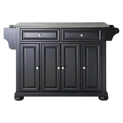 Alexandria Stainless Steel Top Kitchen Island Wood/Black - Crosley
