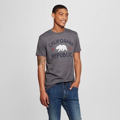 Men's Short Sleeve California Republic with Bear Graphic T-Shirt - Awake Charcoal