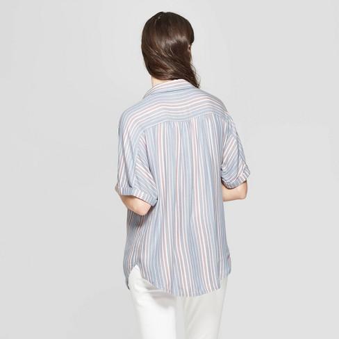 17a8d7b010b02 Women s Striped Short Sleeve Collared Camp Shirt - Universal Thread™ Blue    Target