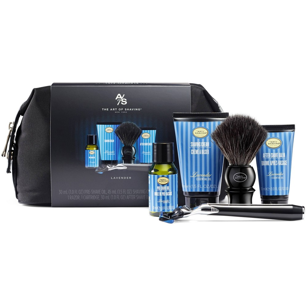 Packaged together in a sharp black wash bag, this kit includes everything one will need to groom with confidence while away from home base. Includes Lavender Pre-Shave Oil, Lavender Shaving Cream, Lavender After Shave Balm, a Synthetic Fiber Shaving Brush, and the Jet Black Morris Park 5 Blade Razor packaged together in a sharp black wash bag.