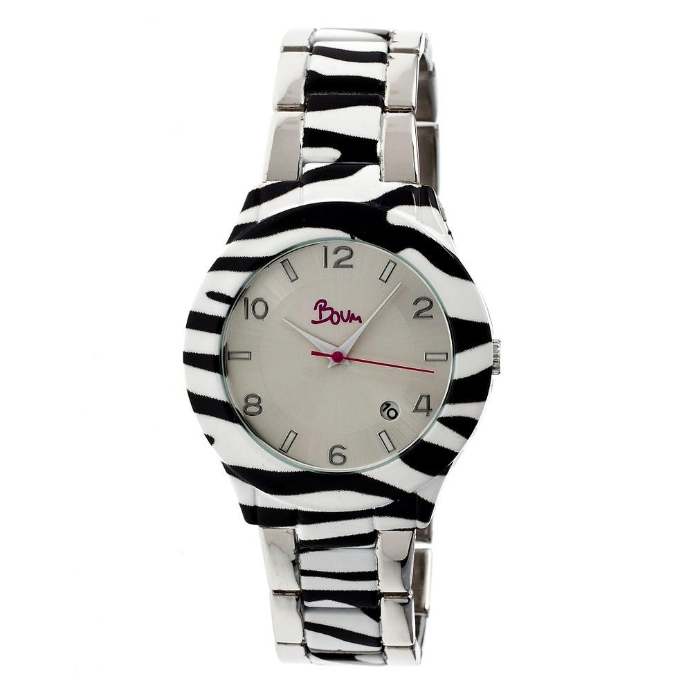 Boum Bombe Women's Unique - Print Bracelet Watch - Silver/Gray, Light Silver/Gray