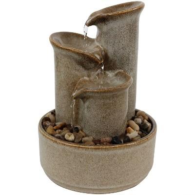 "10""H Tiered Carafe Ceramic Indoor Tabletop Water Fountain - Sunndyaze Decor"