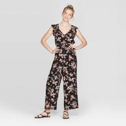 Women's Floral Print Flutter Short Sleeve V-Neck Smocked Waist Jumpsuit - Xhilaration™
