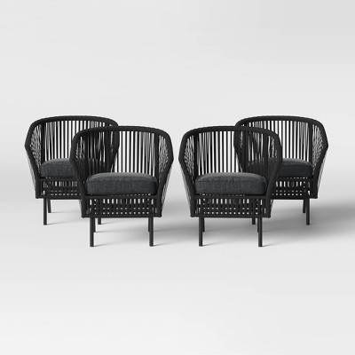 Standish 4pk Patio Chat Chair - Black - Project 62™