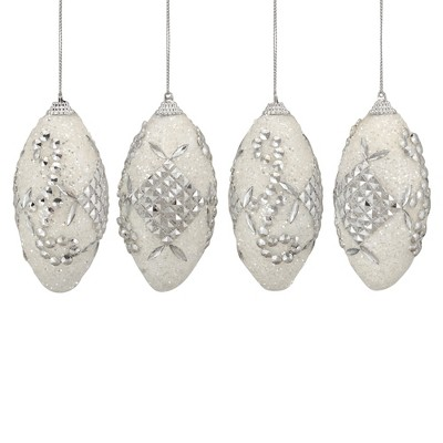 """Northlight 4ct Beaded Shatterproof Christmas Finial Ornament Set 4.5"""" - White/Silver"""