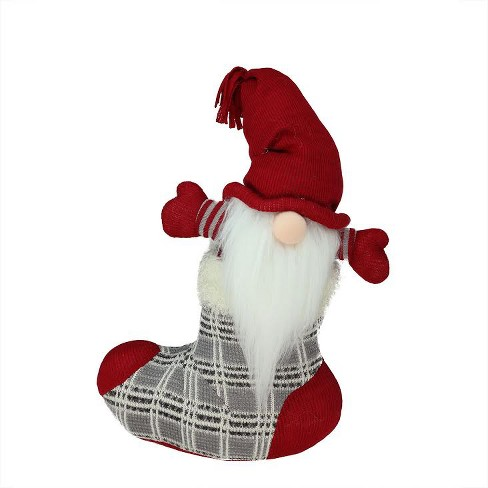 """Northlight 14.5"""" Gray and Red Tristan Gnome in Christmas Stocking Tabletop Figure - image 1 of 4"""