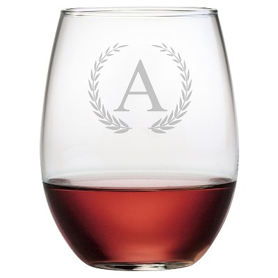 Susquehanna 21oz Glass Wreath Monogram Stemless Wine Glasses - A - Set of 4