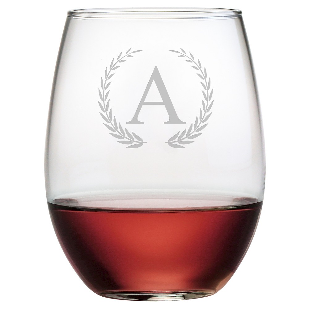 Susquehanna 21oz Glass Wreath Monogram Stemless Wine Glasses - A - Set of 4, Clear