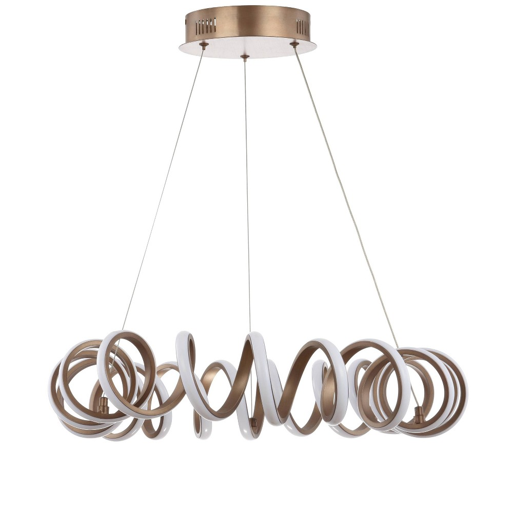 "Image of ""24"""" Cursive Adjustable Spiral Integrated LED Metal Chandelier Ceiling Light Coffee (Includes Energy Efficient Light Bulb) - JONATHAN Y"""