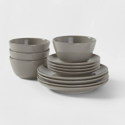 12pc Stoneware Avesta Dinnerware Set Gray - Project 62™