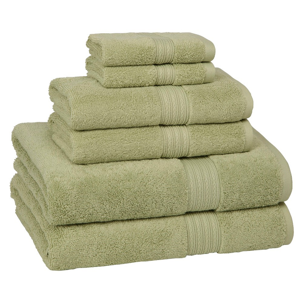 Kassadesign Solid Bath Towel Set 6pc Celery (Green) - Kassatex