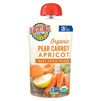 Earth's Best Organic Stage 3 Pear Carrot Apricot Baby Food 4.2oz