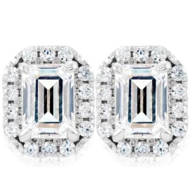 Pompeii3 3/4 Ct Emerald Moissanite & Lab Created Diamond Halo Studs 14k White Gold Earrings